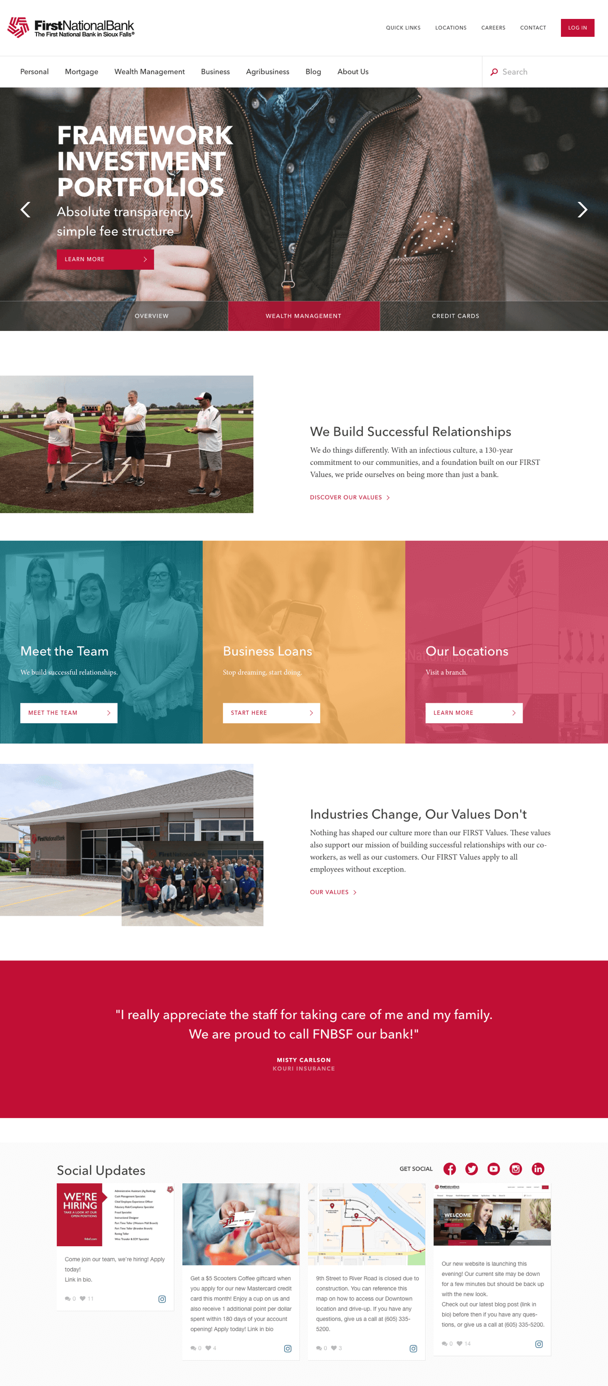 First National Bank Sioux Falls homepage details